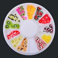 Hot sell New 3D Polymer Clay Fruit Slices Wheel Nail Design Wheel Nail Art Decorations Rhinestones DIY