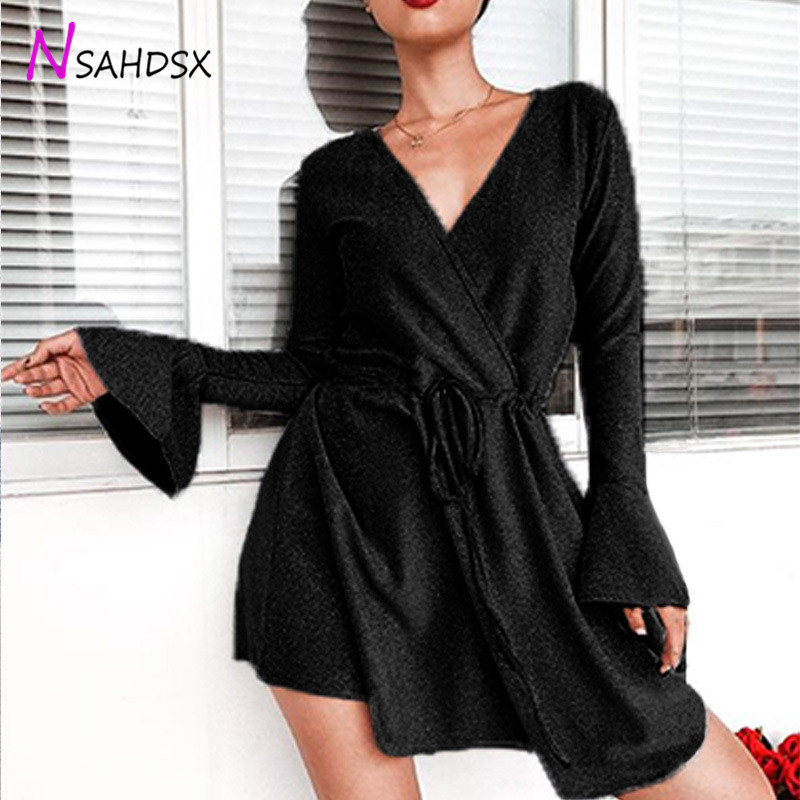 Beach Dress Street Explosions 2019 Women 39 s Mini Dress Summer New European American V neck Waist Horn Sleeves Large Size S 3xl in Dresses from Women 39 s Clothing
