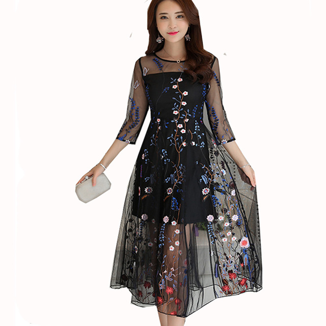 summer dress women floral embroidery elegant lace dresses 2017