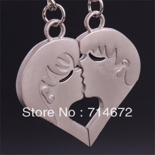 """Free shipping (40PR/LOT )Wholesale Personalized """"Kiss """"  Silver Heart Charm STAINLESS STEEL LOVE KEY RING-KEY CHAIN"""