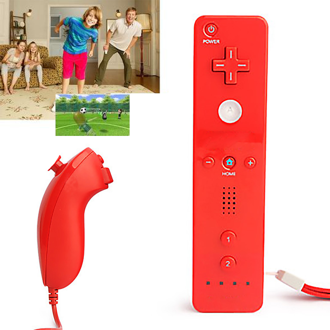 Nunchuck Video Game Controller Gamepad Nunchucks Remote For Nintendo F