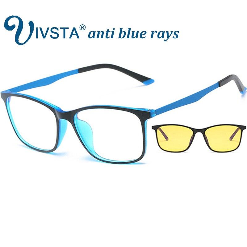 IVSTA Anti azul rayos de gafas hombres para teléfono de la computadora Flexible TR90 naranja azul luz Super Delgado plaza de título de grado