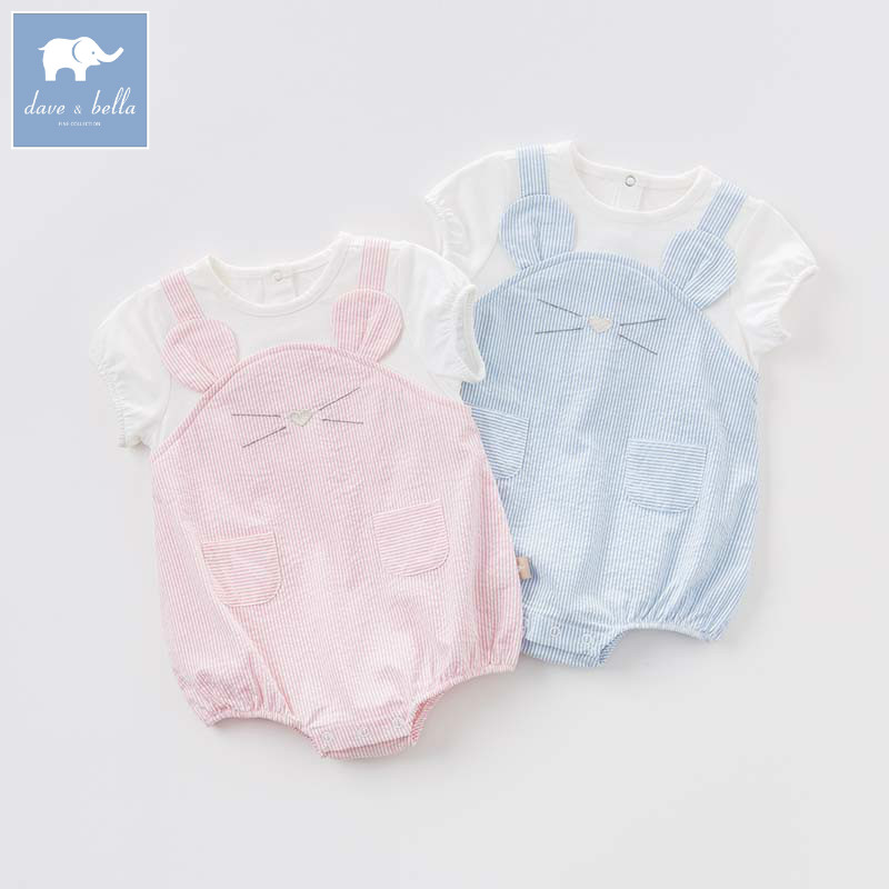 DB7243 dave bella summer new born baby lovely striped romper children high quality clothes infant toddler jumpsuits 1 pc db5033 dave bella summer new born baby unisex rompers cotton infant romper kids lovely 1 pc children romper