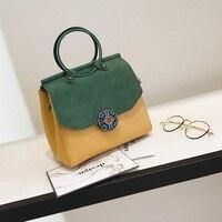 2017 Autumn New Design Envelope Lady Handbag Women Top Handle Tote Bag Girls Patchwork Candy Color