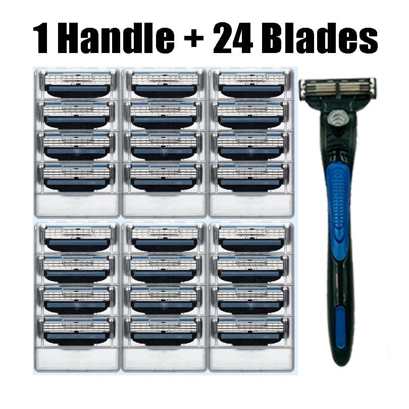 JIEFUXIN 24pcs Razor Blades+1pcs Razor Holder Face Care Manus