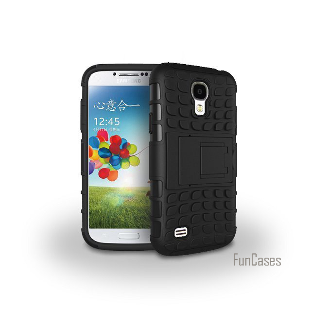 For Samsung Galaxy S4 I9500 Case Hybrid kickstand Rugger Rubber TPU+Hard PC 2 In 1 Shock ...