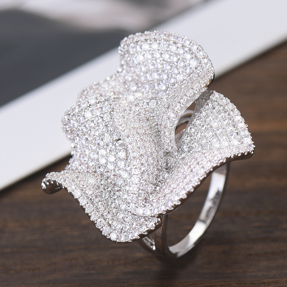 Image 4 - GODKI Luxury Big Flowers Statement Finger Rings for Women Wedding Cubic Zircon CZ African Bridal Dubai Chic Rings Jewelry 2019-in Wedding Bands from Jewelry & Accessories