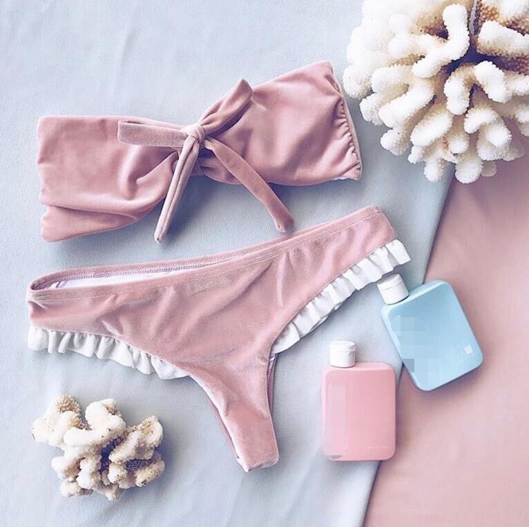 Х-герр стильный бархатный бикини купальники женщин розовый с бантом бикини 2017 купальник без бретелек купальный костюм женщины неопрен горячей продажи