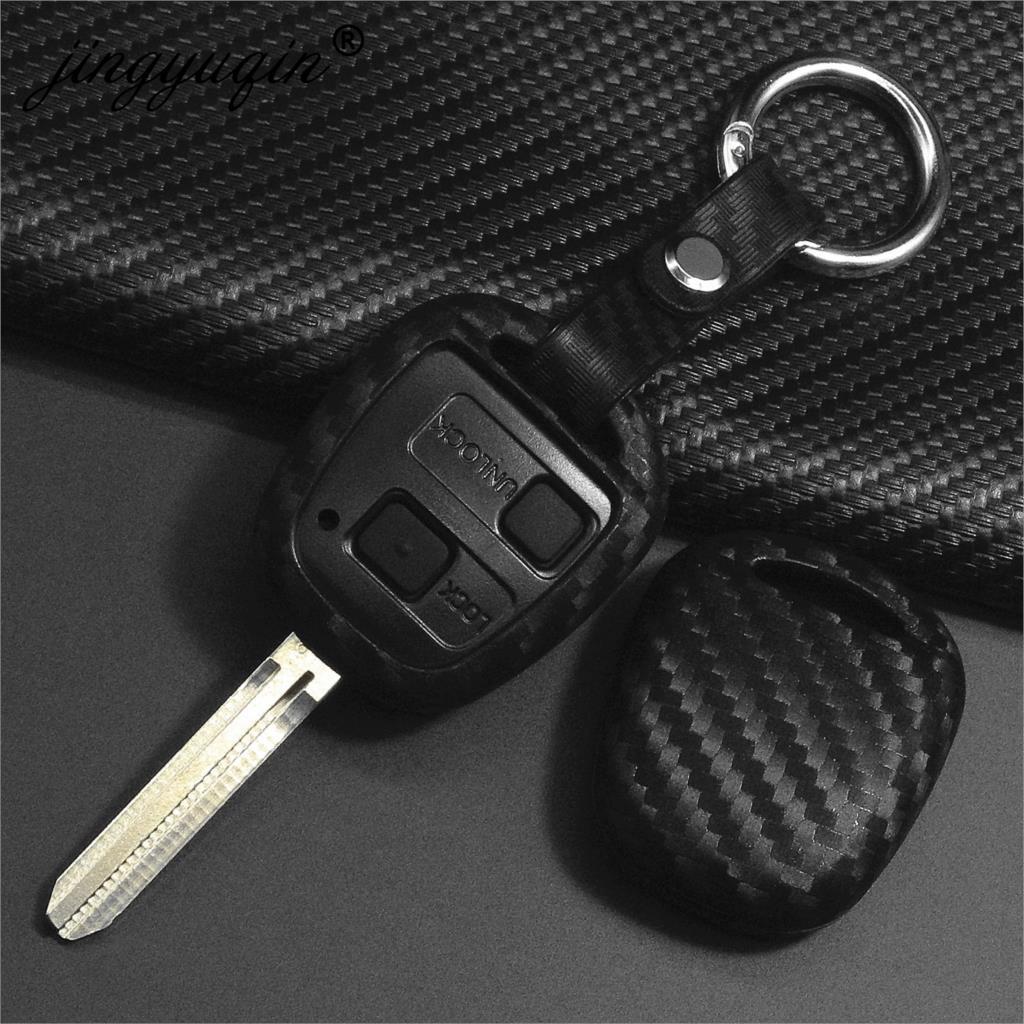 Jingyuqin Carbon Silicone Car Key Cover Case For LEXUS RX300 ES300 TOYOTA CAMRY RAV4 PRADO COROLLA AVENSIS LAND CRUISER YARIS
