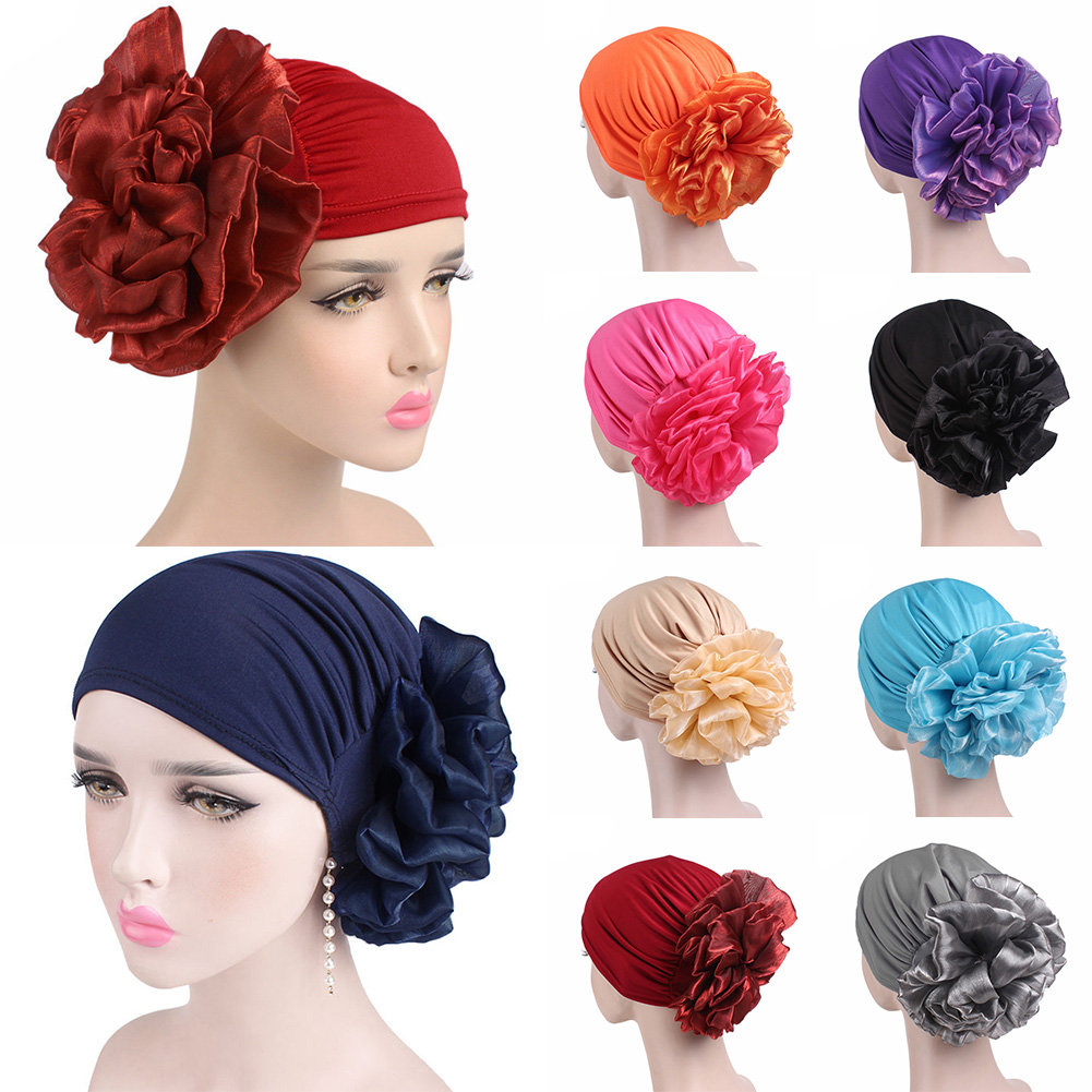 2019 New Woman Big Flower Headband Silk Turban Hat Bandanas for Women Muslim India Cap Ladies Chemo Head Wrap Hair Accessories