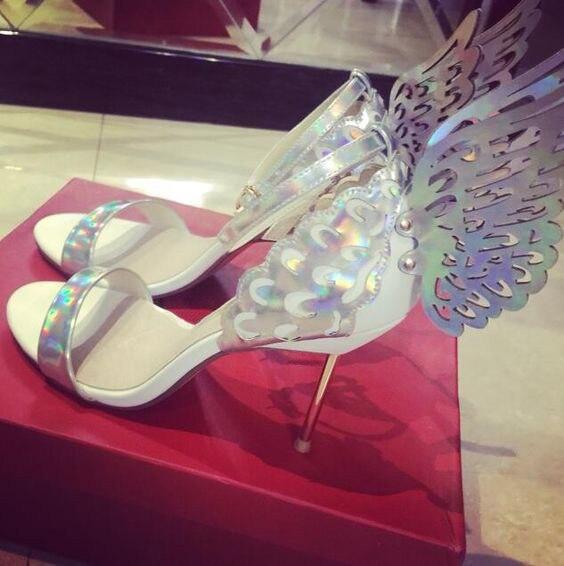 0e6e56b16254 LTTL Pink Silver Champagne Butterfly Wings Bride Wedding Shoes Sexy Open  Toe Women Pumps Buckle Strap High Heels Women Sandals-in Women s Sandals  from Shoes ...