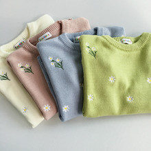 2018 Harajuku Autumn Spring Women Sweater Flowers Embroidery Pattern All-match Lady Sweater Long Sleeve Kawaii Pullovers