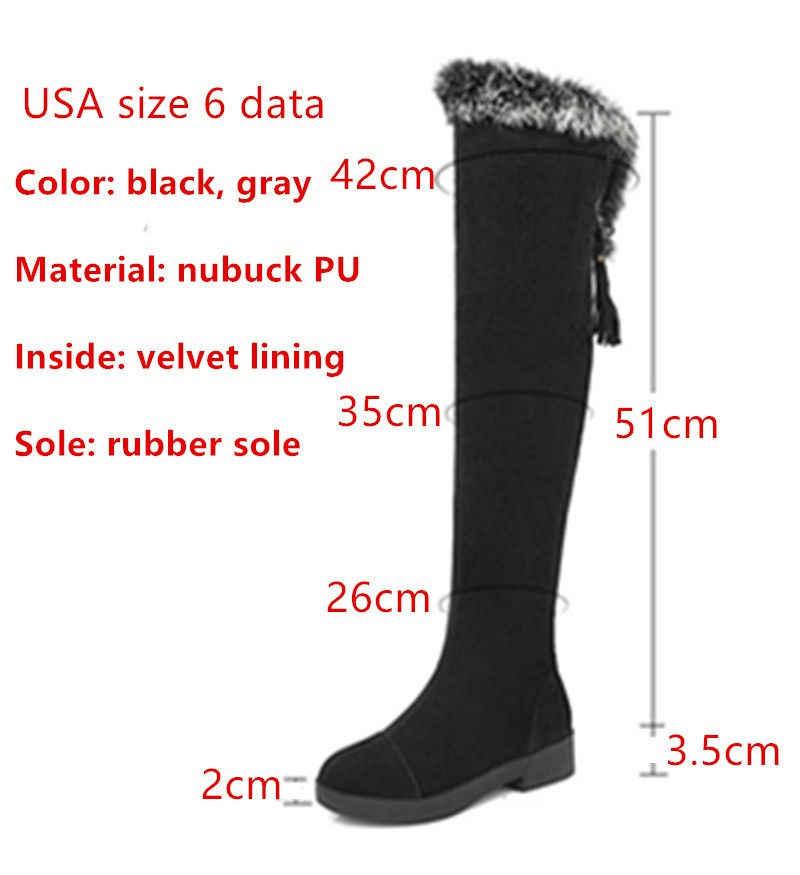 250a618ad986e ... ZJVI women thigh high snow boots women's ladies nubuck winter boots  woman over the knee boots ...