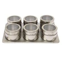 7in1 Magnetische Gewürzglas Gesetzt Rack Halter Gewürze Container Gewürze Lagerung Silber