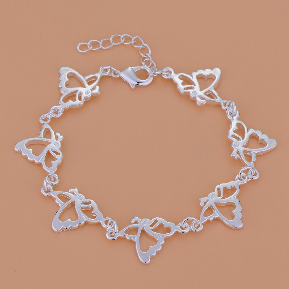 ღ ღFree Shipping Silver Plated Bracelets For Women,Wholesale