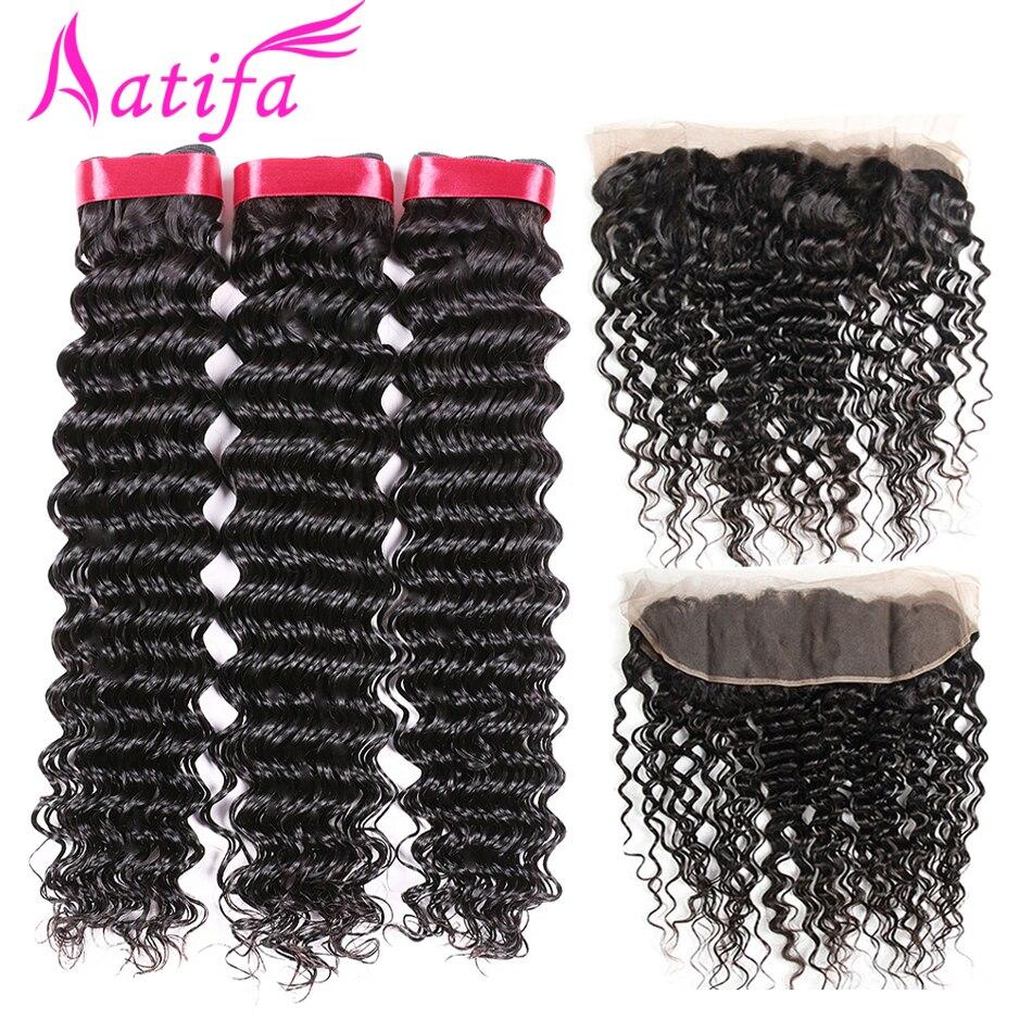 Peruvian Deep Wave Bundles With Frontal 100 Human Hair Bundles with Closure Aatifa Remy Hair 13x4