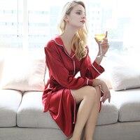 Мода натурального шелка Длинные рукава ночные халаты сплошной цвет sleeeping пижамы сексуальные женщины халат шелк тутового шелкопряда bedgown
