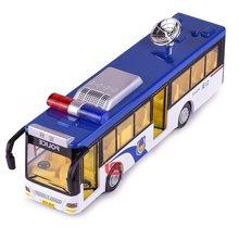 Ônibus da polícia do brinquedo diecast & plástico 19cm # 6011d w/sirene n luzes dentro quando conduzido também equipamento de comunicação por satélite