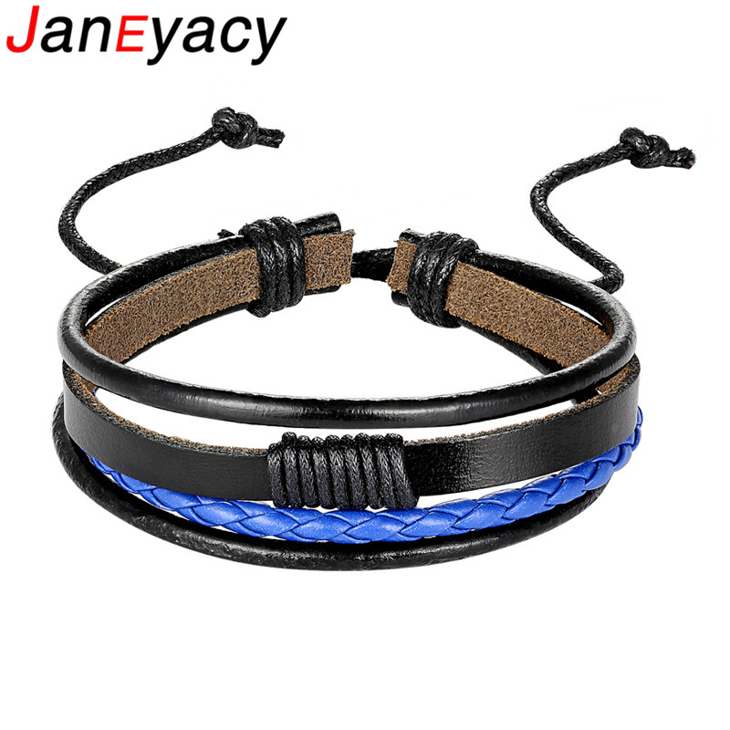 2019 Männer Leder Armband Schwarz/braun/blau/weiß Geflochtenen Seil Armband Männer Schmuck Krawatte Einstellbare Geschenk Pulseira Masculina