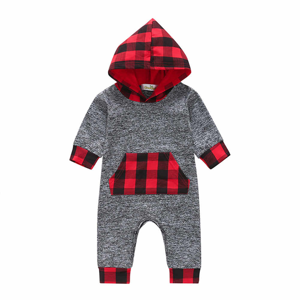Fashion Autumn Winter Newborn Baby Boys Girls Long Sleeve Hooded Plaid Romper Set Baby Comforable Warm Jumpsuit Clothes Hot Sell