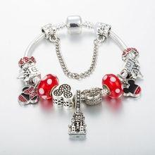 Annapaer mickey & minnie charme pulseiras & pulseiras feminino jóias castelo pingente pulseira diy artesanal para menina b19002
