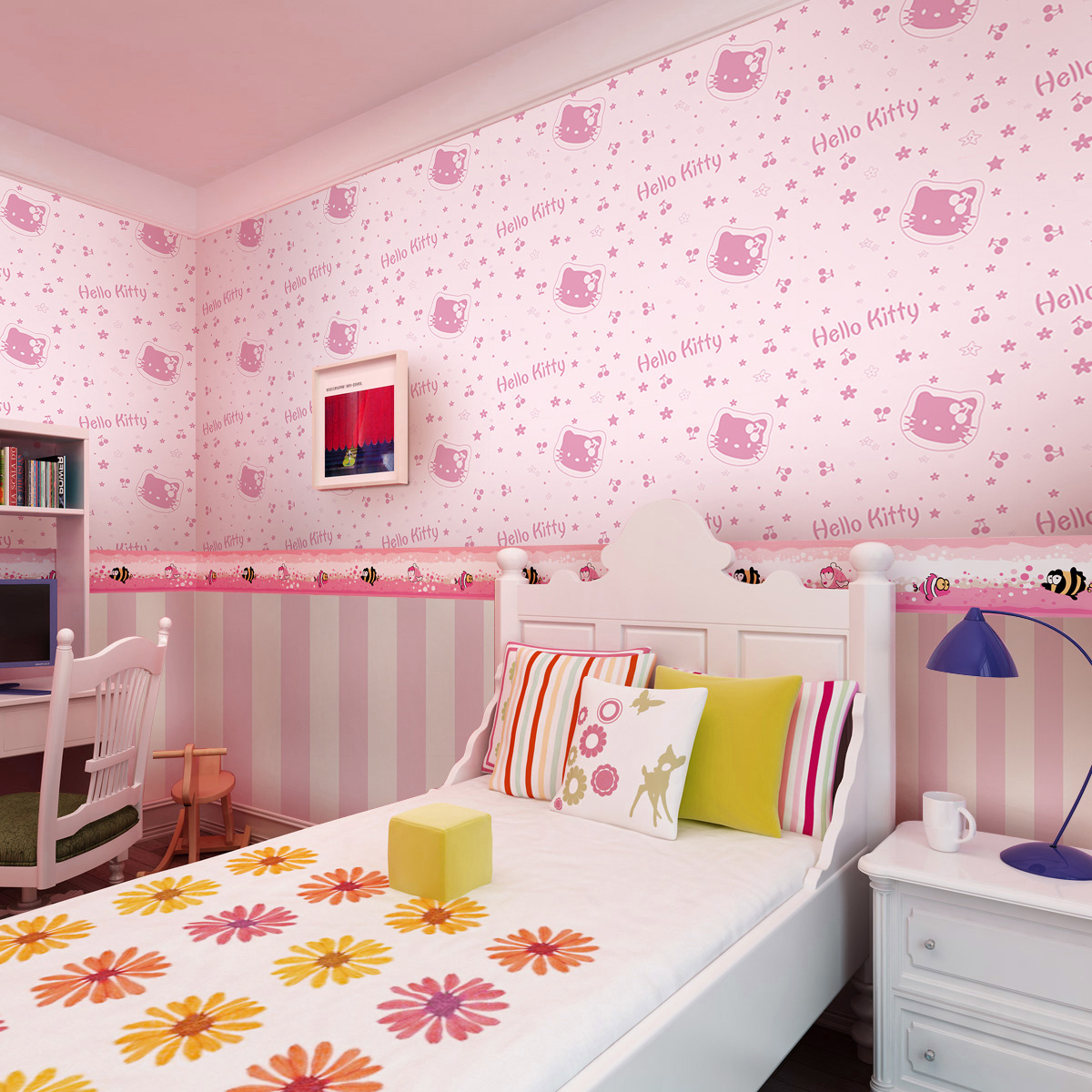 Hello Kitty Non Woven Wallpaper Cute Pink Princess Bedroom Warm Childrenu0027s  Room Background Wallpaper Free Ship In Wallpapers From Home Improvement On  ...