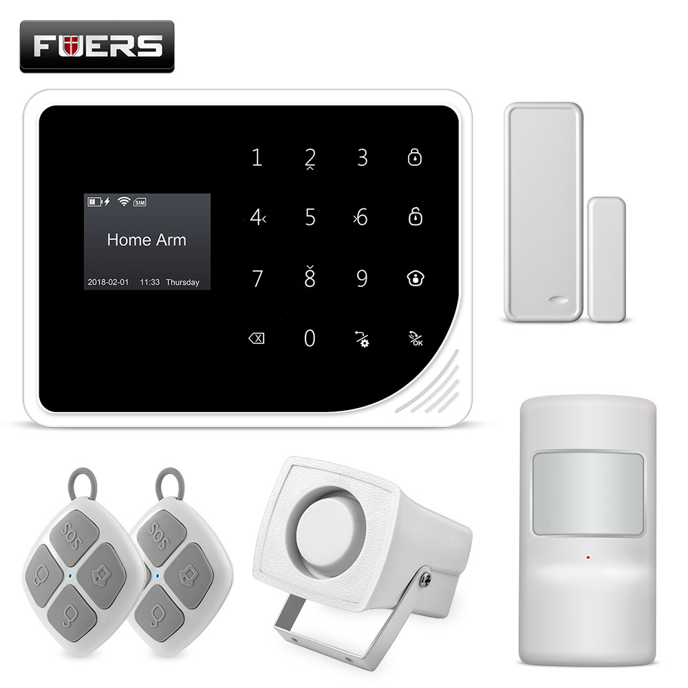 FUERS 2,4g Wifi GSM Alarm Alarmanlagen Sicherheits Hause Alarm 850/900/1800/1900 mhz Mit Bildschirm display Tastatur Apps Steuer SMS Alarm