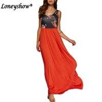 2016 New Women Long Summer Dress Retro Floral Print Stylish Dress Tank Floor Length Female