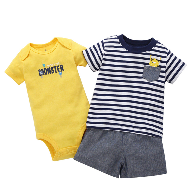 summer boy clothes newborn baby set letter T-shirt tops+bodysuit+shorts costume infant clothing new born outfit babies suit 2019 5