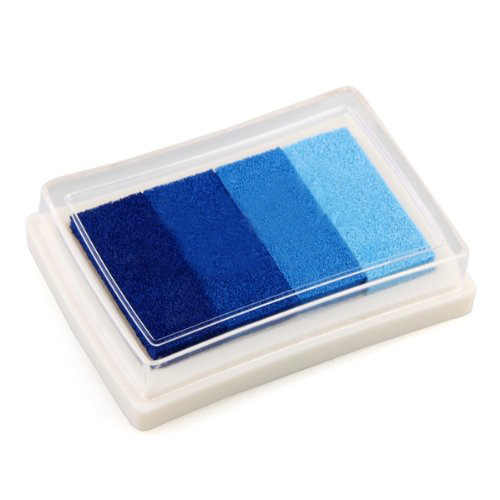 Blue Multi Gradient 4 สี Ink Stamp Inkpad Oil Based Child-safe