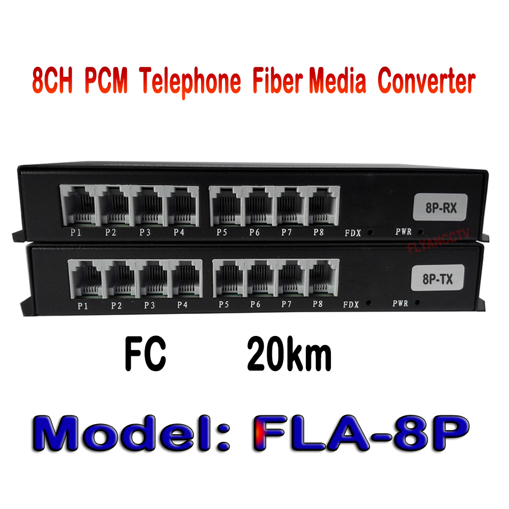 8 Channel PCM Voice Fiber Telephone Converter Optical Media Converter Converters Transmitter and Receiver, Single Mode 20KM 4 channel pcm voice telephone fiber optical media converter with 1ch ethernet 1pair fc single mode 20km multi mode 300meters