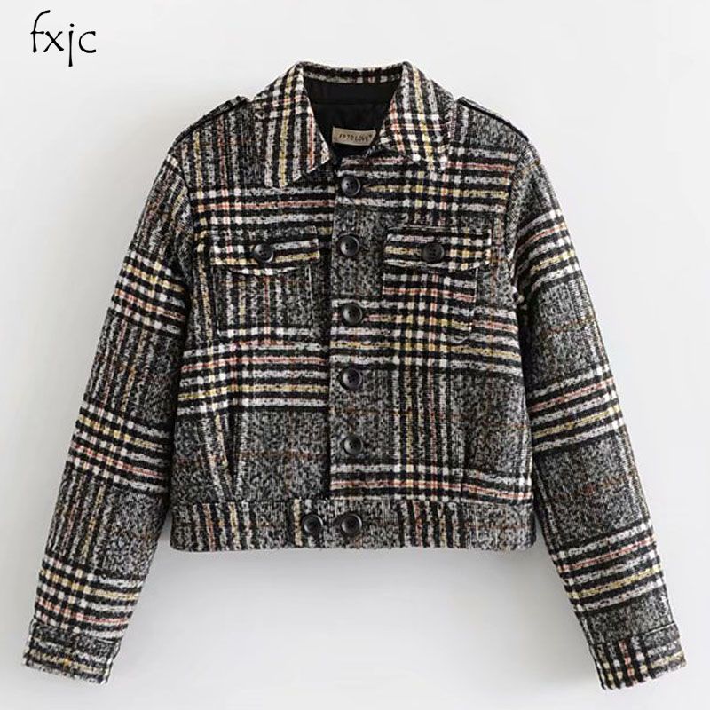 Jackets & Coats Liu Jing 80-8946 European And American Fashion Casual Jacket Plaid Cotton Jacket Women's Clothing