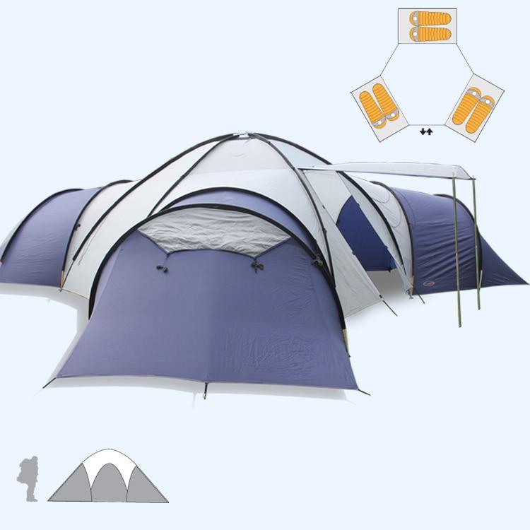 Grote Camping tent 8 10 mensen 3 kamers Anti regenbui Familie Reizen Tent Kan worden gebruikt als Luifel speciale aanbieding GEEN innerlijke tent en mat