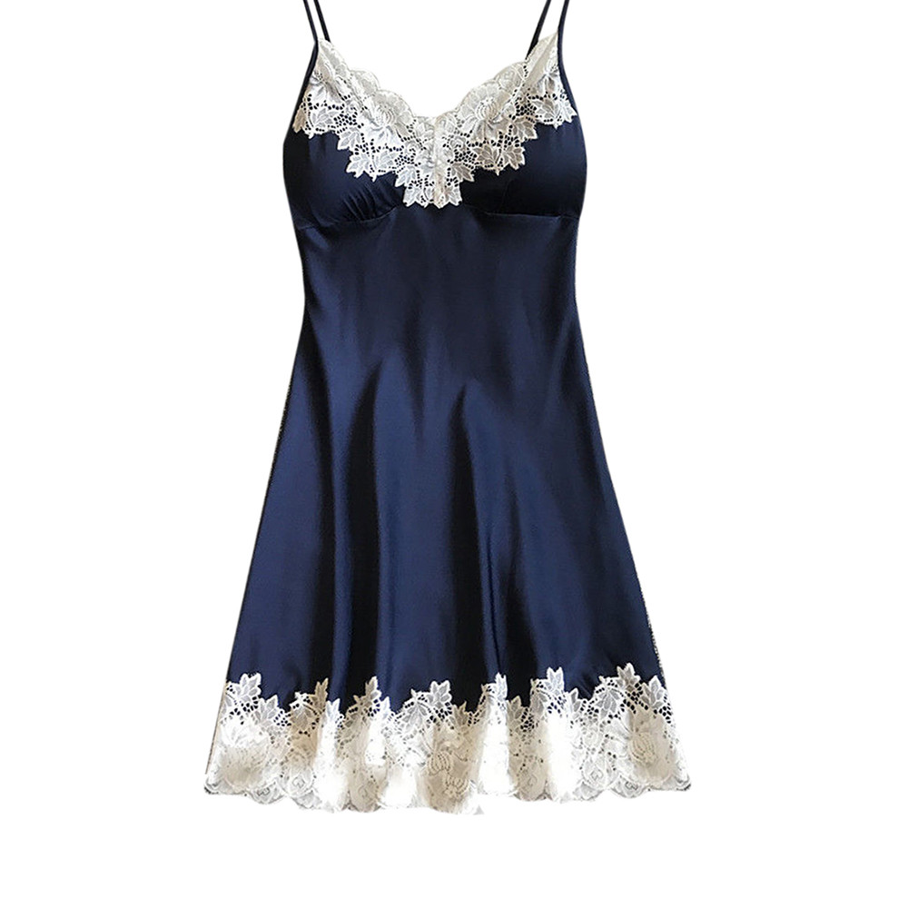 Sleepwear Women Sexy Ladies Nightwear Nightdress Women Lingerie   Nightgowns     Sleepshirts   Sleep Lounge Satin with Chest Pad #YL2