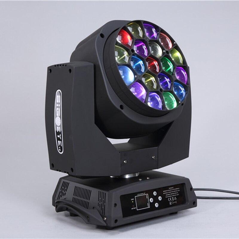Buona qualità LED 19*15 W grande ape occhio k10 in movimento palco testa luce con zoom wash dj luce hawkeye singolo controllo con volo caso