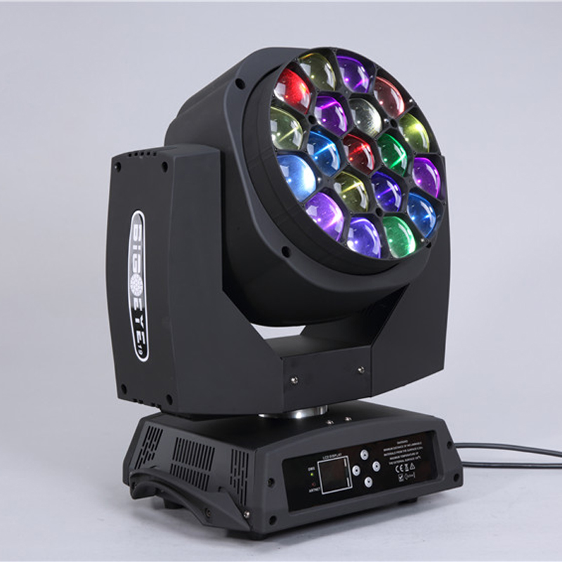Good quality LED 19*15W big bee eye k10 moving head stage light with zoom hawkeye wash dj light single control with flight case