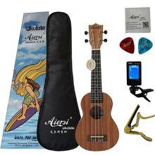 2019 Новый цветная коробка, пакет Aiersi бренд 21 дюймов красное дерево сопрано Гавайские гитары укулеле высокое качество Ukelele