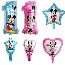 Happy birthday decoration Minnie Mickey balloon pink Blue baloon Number Helium Foil Balloons Baby 1st Birthday latex balloons