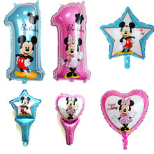 Happy birthday decoration Minnie Mickey balloon pink Blue baloon Number Helium Foil Balloons Baby 1st Birthday latex balloons(China)