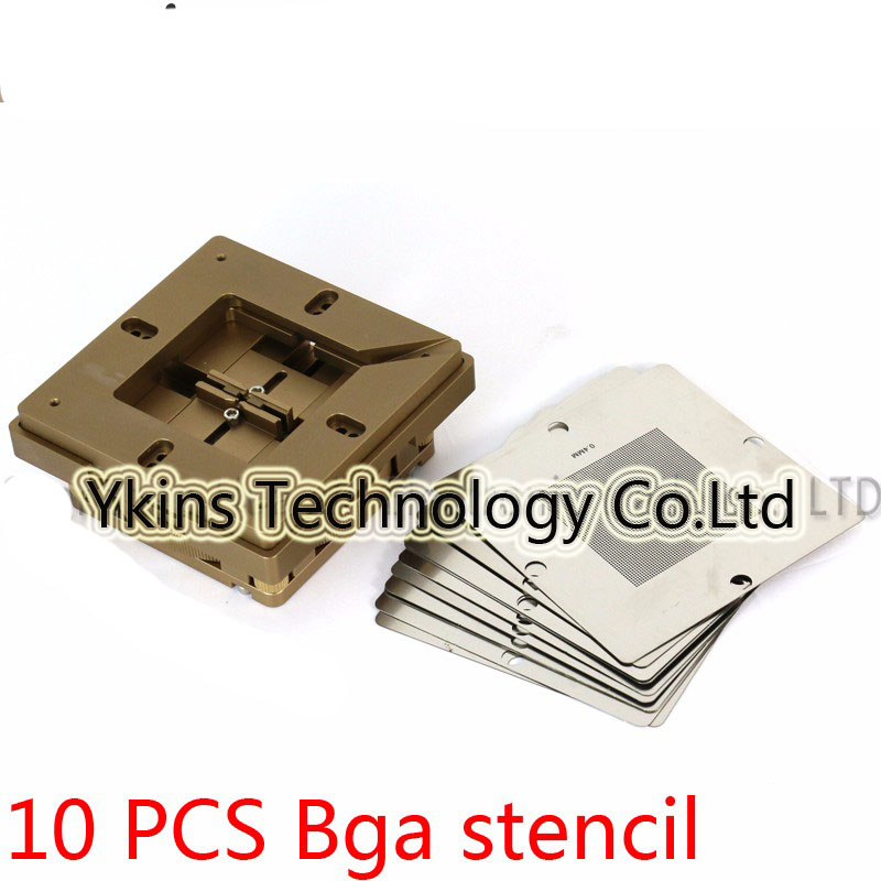 Blue BGA reballing station with hand shank BGA tin fixture BGA reballing kit+90*90mm Universal Bga Stencil+solder paste+tweezer logic board planting tin fixture with solder paste bga stencil for iphone x motherboard bga reballing stencil repair tools