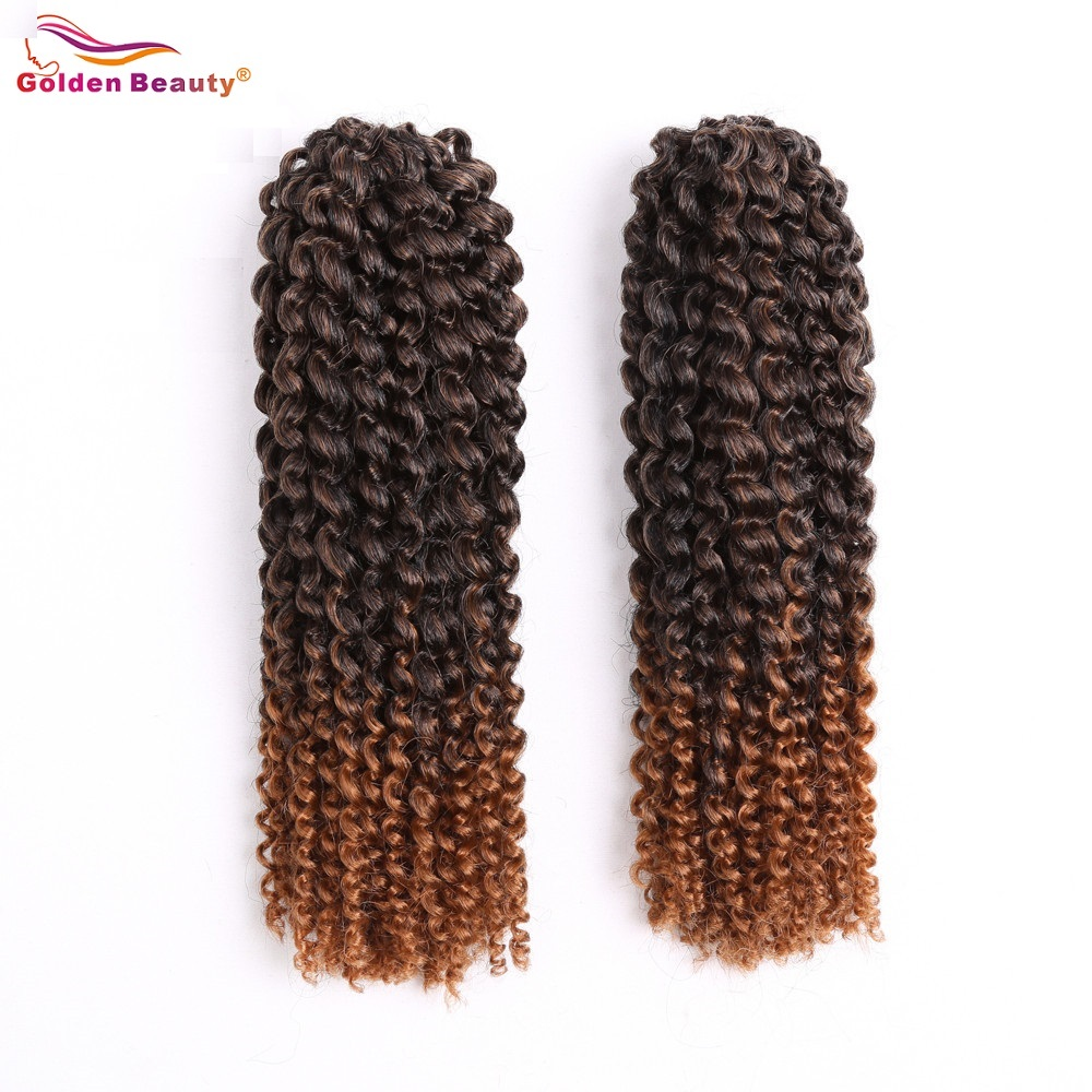12inch Crochet Braid Hair Extensions Ombre Curly Syntetisk Braiding Hair African Braids Lång MarliBob Golden Beauty 2st / Pack