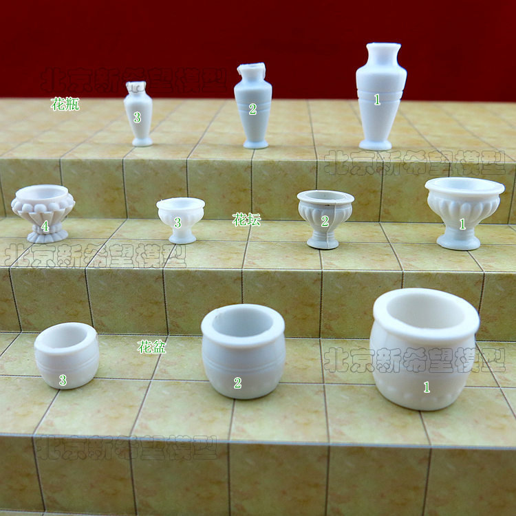 Hot sale miniature white plastic flower pot model scale 1100 1200 miniature white plastic flower pot model scale 1100 1200 landscape model toys for child kid dolllhouse decoration mightylinksfo