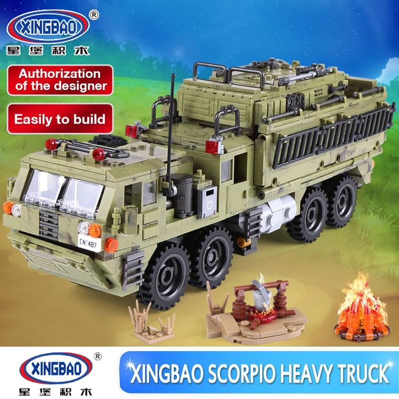 XINGBAO 06014 Military Series 1377PCS The Scorpion Heavy Truck Set Educational Building Blocks Bricks Toys for Boy Birthday Gift 8 in 1 military ship building blocks toys for boys