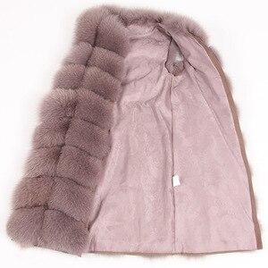 Image 3 - Maomaokong 100% שועל פרווה אפוד נשים אמיתי טבעי כל שועל פרווה מעיל 90CM ארוך חורף פרווה מעיל חזייה בתוספת גודל 4XL