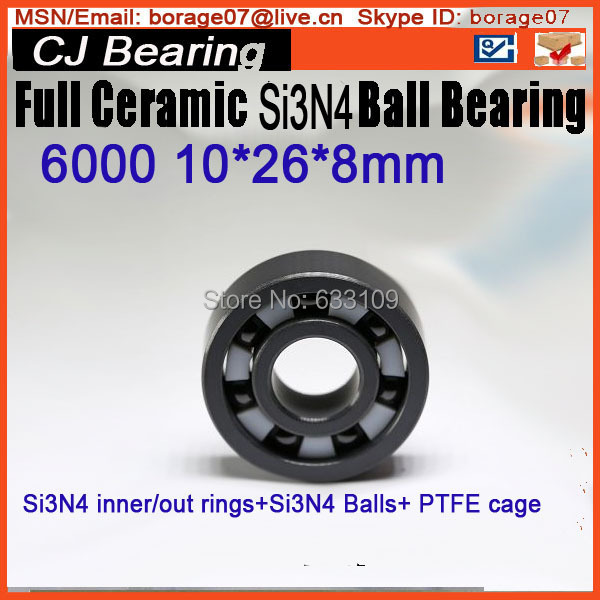 Full ceramic ball bearing si3n4  6000 10*26*8mm