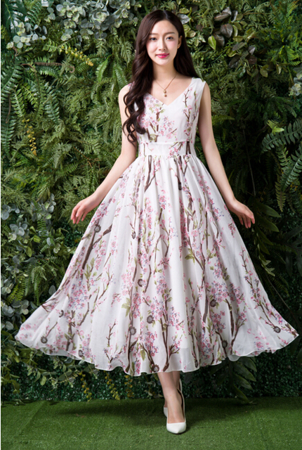 Free Shipping 2016 Summer New Arrival V Collar Flower Printed Collect Waist Woman Chiffon Long Dress