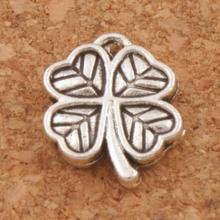 Small Clover Leaf Charm Beads Pendants 200pcs Antique Silver Handmade Jewelry DIY L576 12.2x10.6mm