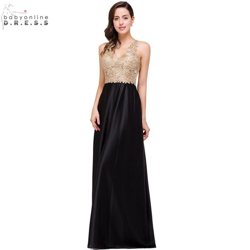 521cf49fb 2017 Vestido de Fiesta Largo Elegante con Cuentas de Encaje de Oro Vestido  de Noche de