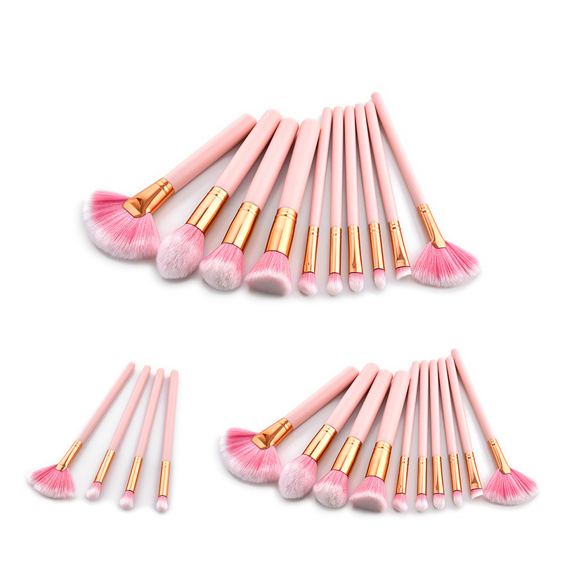 4/10Pcs Pink Makeup Brushes Set Foundation Blending Powder Eyeshadow Contour Concealer Cosmetic Beauty MakeUp Tools