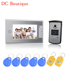 (1 set) HD 7 inch Colorful Display Aluminium Case One To One Video door phone System RFID Card Unlock Wired Intercom camera